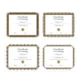 Vector icon set of training certificate templates Royalty Free Stock Photos
