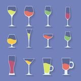 Vector icon set of utensil. Wine beer martini Stock Images