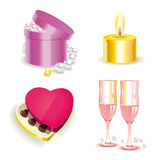 Vector icon set of Valentine's Day. Champagne Valentine's Day heart love romantic candle chocolates Royalty Free Stock Photos