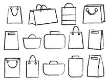 Vector icon set of various bags Baggage theme icons. Collection of Travel bags Royalty Free Stock Photo