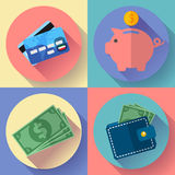 Vector icon Set Wallet, credit card, piggi and Money. Flat Vector icon Set Wallet, credit card, piggi and Money with long shadow Stock Photos