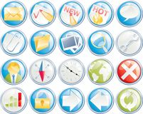Vector icon set for web, forum, site or blog. Set of glossy icons for web design Stock Image