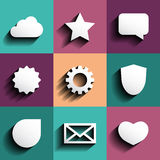 Vector icon set white with shadow Stock Photography