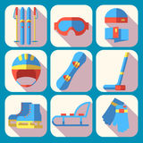 Vector icon set of winter sport. Flat design Stock Photo