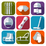 Vector icon set of winter sport. Flat design Stock Image