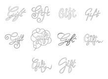 Vector icon set of word gift Stock Photo