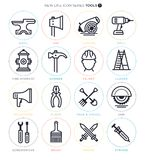 Working Tools Icon Set. Vector icon set of working tools and objects Stock Image