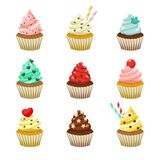 Vector icon set of yummy colored cupcakes. Collection of different flavours and kinds Royalty Free Stock Image