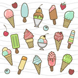 Vector icon set of yummy colored ice cream. Collection of different flavours and kinds Royalty Free Stock Photo