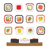 Vector icon set of yummy colored sushi rolls Stock Photos