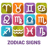 Vector icon set of Zodiac Signs in flat style Royalty Free Stock Images
