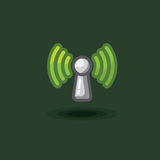 Vector icon sign antenna wi fi. Illustration free wi fi, green reception signal. Vector icon sign antenna wi fi isolated. Illustration free wi fi, green Royalty Free Stock Images