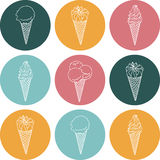 Vector icon silhouettes ice cream with signature. Icon of silhouettes ice cream with signature Stock Photography