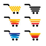Vector icon simple abstract line shopping carts collection set Royalty Free Stock Photography