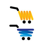 Vector icon simple unique shopping trolleys - concept graphics i Royalty Free Stock Images