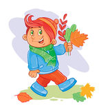 Vector icon of small boy collects fallen leaves Royalty Free Stock Image