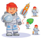 Vector icon of small child astronaut in a space suit and helmet in hand. Vector icon of small child astronaut in a space suit and helmet in hand and his toy Royalty Free Stock Images
