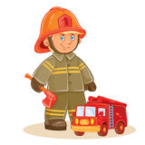 Vector icon of small child firefighter and his machine. Vector icon of small child firefighter in fire protection suit and his machine. Design element, print for Stock Image