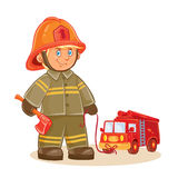 Vector icon of small child firefighter and his machine on a string Royalty Free Stock Photos