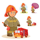 Vector icon of small child firefighter and his machine on a string Stock Photo