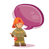 Vector icon of small child firefighter and his machine on a string Royalty Free Stock Photography