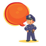 Vector icon of small child police man. Royalty Free Stock Photos