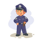 Vector icon of small child police man. Royalty Free Stock Photo
