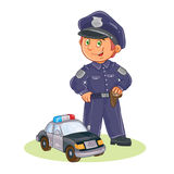 Vector icon of small child policeman and his car. Stock Photo