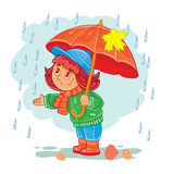 Vector icon of small girl with an umbrella standing in the rain. Vector icon of small child in autumn clothes with an umbrella standing in the rain. Design Royalty Free Stock Photography