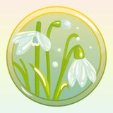Game Icon with Snowdrop Flower. Vector icon with snowdrop flower. Perfect for game and app icons devoted to floral topic Stock Photos