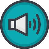 Vector Icon of a sound on button in flat style with outline. Pixel perfect. Player and multimedia icon. Stock Images