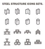 Beam pipe icons. Vector icon of steel pipe and beam product for construction industry work vector illustration