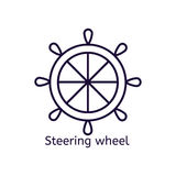 Vector icon of steering wheel on a white background. Royalty Free Stock Images
