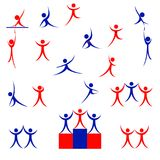 Vector icon stick figure, human silhouette. Isolated Royalty Free Stock Photos