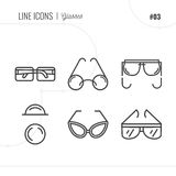 Vector Icon Style Illustration of Glasses, lenses, sunglasses. L Royalty Free Stock Photos