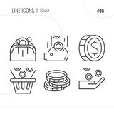 Vector Icon Style Illustration of Money, coins, wallet. Royalty Free Stock Photography