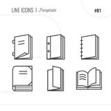 Vector Icon Style Illustration of Pamphlets, Catalogs, Books, Is. Olated Object. Line icons set Stock Photography