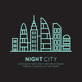 Vector Icon Style Illustration of  Smart Modern City, New Eco District, Skyscraper Town Concept, Night Neon Light. One page web site background Royalty Free Stock Photo