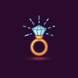 Vector icon in style linework jeweler gold ring with diamond on dark background. Illustration style linework gold ring with shiny brilliant Royalty Free Stock Images