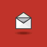 Vector icon in style linework message in open letter envelope on red background. Illustration style linework web message Stock Images