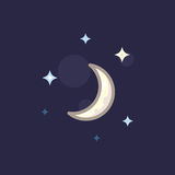 Vector icon in style linework moon and star on dark background. Illustration style linework night sky with moon and stars Royalty Free Stock Photography