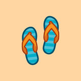 Vector icon in style linework slates on sand background. Slates shoes for beach. Vector icon in style linework blue slates on sand background. Illustration style Stock Photography