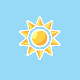 Vector icon in style linework sun on blue sky background. Illustration of linework style sun in clear sky Royalty Free Stock Photos