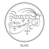Vector icon with symbol of demon Bune