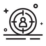 Vector icon. Target, Target market, target audience icon. Modern outline icon for any purposes. Suitable for business, finance, marketing theme royalty free illustration