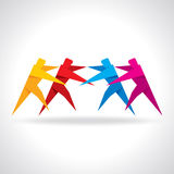 Vector Icon Teamwork Hugging. Group of People Stock Photography