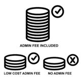 Icon, three category of Admin Fee, isolated on white. Vector Icon, three category of Admin Fee, isolated on white vector illustration