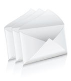 Vector icon three white empty mail envelope opened Stock Photos