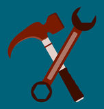 Vector icon of tools. Hammer and wrench repair tools royalty free illustration