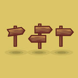 Vector icon tourist arrow signposts road to right and left. Illustration wooden direction signs show direction in different directions isolated flat Royalty Free Stock Photography